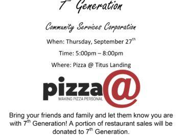 Pizza @ Titus Landing Fundraising Night - September 27th