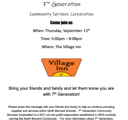 Village Inn Fundraising Night - September 13th