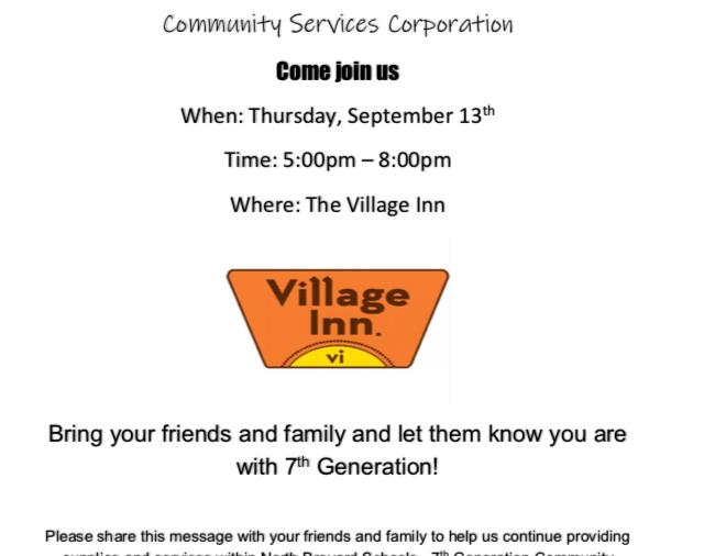 Village Inn Fundraising Night - September 13th