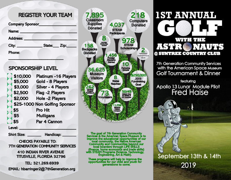 1st Annual Golf with the Astronauts Brochure Front