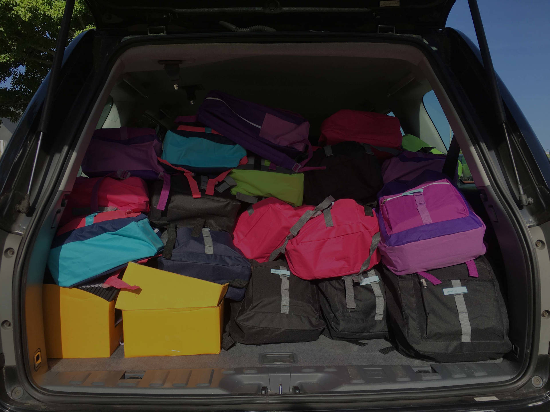 backpacks filled with school supplies